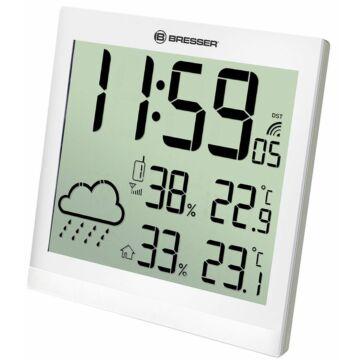Bresser TemeoTrend JC LCD RC időjárás állomás (falióra), fehér