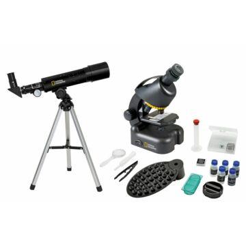 Bresser National Geographic készlet: 50/360 AZ teleszkóp és 40x–640x mikroszkóp