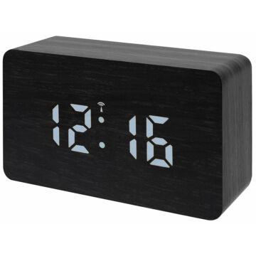 Bresser MyTime W színes LED-es asztali ébresztőóra, fekete