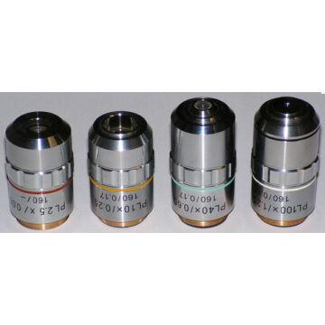 Planobjektív szett (160mm: 4x, 10x, 40x és 100x)