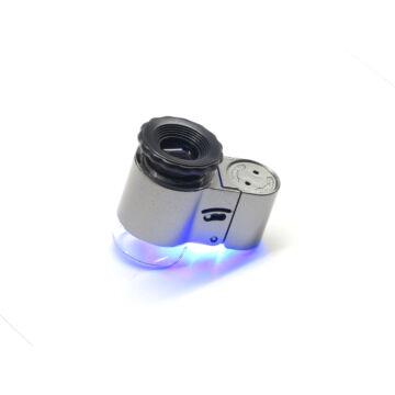 45x nagyítású kézi mikroszkóp fehér és UV LED megvilágítással