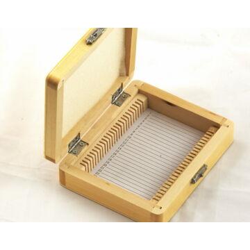 Tárgylemez-tartó doboz (25 darabos, fából készült)