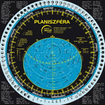 Forgatható csillagtérkép (planiszféra) és holdnaptár VZPL