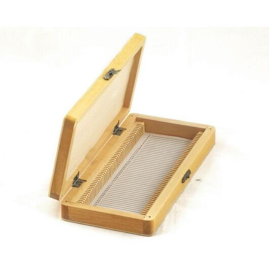 Tárgylemez-tartó doboz (50 darabos, fából készült) PrepBox50